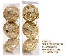 Idea Natale: Set 3 palle palline natalizie decorate con brillanti perline o foglie in forme e decori assortiti; per decorazione albero di natale; dimensione cm 8 (champagne)