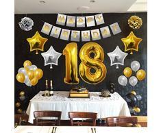 Festa di Compleanno Palloncini Set - Foil Lattice Palloncini e Happy Birthday striscione Decorazioni in Oro & Argento - Decorazione Accessori Adatta per Tutti gli Adulti (Age 18)