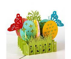 Akoak 13 x 15 cm 3D pop-up biglietto d' auguri fatti a mano Laser Cut vintage Cards uova di Pasqua creative farfalle colorate biglietti d' auguri
