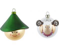Alessi AMJ14SET4 Set di Due Palle per Albero di Natale, in Vetro Soffiato, Decorate a Mano