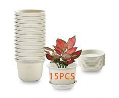 15PCS Vasi per piante da interno, vasi per fioriera in plastica da 13cm con piattino, vaso da giardino per vivaio con foro di drenaggio e vassoio per fiori, erbe, piante grasse, cactus - grigio