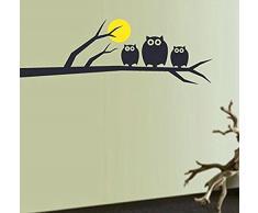 Skyllc® Gufi Luna bambini Camere Stickers da parete finestra Adesivi Wallpapers