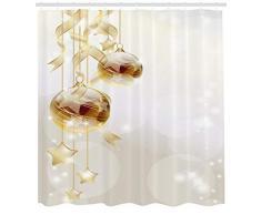 ABAKUHAUS Natale Tenda da Doccia, Palle di Natale Moderno, Tessuto Set di Decorazioni per Il Bagno con Ganci, 175 x 200 cm, Marrone Giallo Bianco
