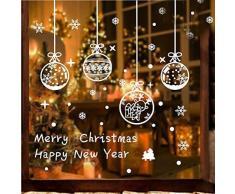 Tuopuda Natale Vetrofanie Adesivi Fiocco di Neve Palla Sticker Natale Adesivi Finestra Decorazione Vetrina Natale Wallpaper Rimovibile Fai da te Finestra Sticker (Bianco)