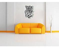 Monocrome, orgoglioso della tigre Papier aspect 3D, la taille de la vignette mur ou de porte: 62x45cm, stickers muraux, sticker mural, décoration murale
