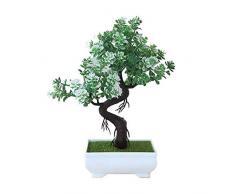 Gaeruite - Pianta artificiale bonsai con vaso di plastica per la decorazione di casa e ufficio, White and Green, as show