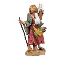 Statuine Presepe: Pastorella con agnello nella gerla 19 cm Fontanini