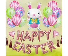 Palloncini Coniglietto di Pasqua Honestyi, Pallone dell'agata di Alluminio del Coniglio Bianco Balloons Combinazione Grande Decorazione stabilita del Partito Happy Easter 12 Pollici 33 Pezzi