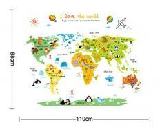 ufengke Mappa del Mondo dei Cartoni Animati Simpatico Animale Adesivi Murali, Camera dei Bambini Vivai Adesivi da Parete Removibili/Stickers Murali/Decorazione Murale
