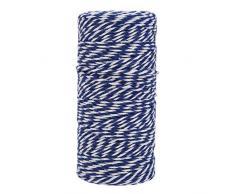 Demiawaking 100M Spago per Pacchi Regalo Spago di Cotone Natale Spago Cotone Imballagio per Artigianato Fai da Te Confezione Regalo Cucina Giardino Decorazione (Blu e Bianco)