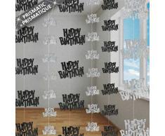 Unique Party 55340 - 1.5 m Decorazioni da Appendere per Compleanno Nero Brillante, Confezione da 6