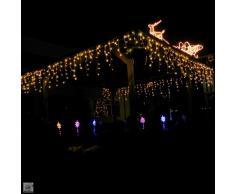 Gartenpirat catena luci pioggia ghiacciata 480LED-12m timer luce bianca calda