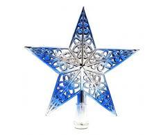 EOZY-Puntale di Stella Hollow Decorazione Albero di Natale Star Top Brillante Ornamento Blu Diametro 20cm