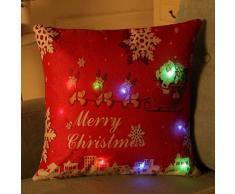 federe Cuscini,Fittingran Regali di Natale Belle federe in Lino Stampato Fantasia LED Lanterna Modello Federa di Lino Natalizio (F)
