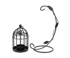 LEORX-Portacandela in stile Vintage a forma di gabbia per uccellini, da appendere, colore: nero