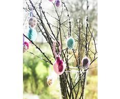 COM-FOUR® - Uova di Pasqua colorate, con gancio, in diversi colori, 3 Stück mit Feder