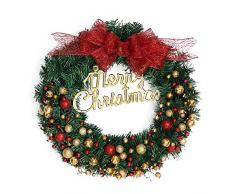 Homebaby Ghirlanda natalizia decorativa Ghirlande natalizie per porta dingresso da 40cm Decorazioni per esterni vintage Fiore artificiale Ghirlanda di ornamento di muro
