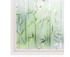 Rabbitgoo Pellicola Per Finestre e Vetri-3D bambù Decorativa,Autoadesive,Anti-UV,Controllo di Calore,Privacy0.9MX2M
