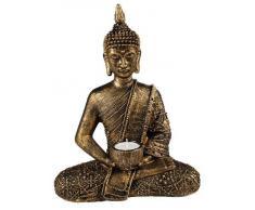 Statuetta ornamentale porta candela raffigurante un Buddha Thai, in bronzo dorato
