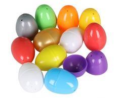 TRIXES 12 x Uova Pasquali Colorate Vuote da Riempire con Una Sorpresa - Plastica - per la Caccia alle Uova di Pasqua