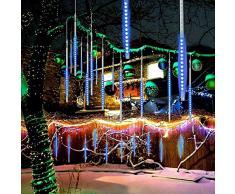 Luci LED Luci Pioggia 30cm 8Tube 200LEDs Luci Meteor Shower impermeabili con spina EU per la festa di nozze Decorazione natalizia Decorazione domestica Outdoor (blu)