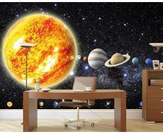 Sistema solare con pianeti FOTOMURALE - galassia universo cosmo tappezzeria da parete- stelle cielo Luna Terra - Poster XXL decorazione da parete by GREAT ART (336 x 238 cm)