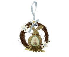 HAAC Rattan decorazione corona porta corona PRIMAVERA PASQUA 23 cm con coniglio e fiori