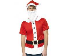Smiffy's - Set per travestimento da Babbo Natale, incl. maglietta stampata, cappello e barba, Uomo, M