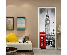 ANHHWW Adesivo Per Porte 3D Londra Big Ben Street Autoadesiva Impermeabile Sticker Porte Interne Decorazione Domestica Murale Pvc Art Decalcomanie Foto Wallpaper Impermeabile