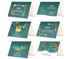 Kesote 24 Biglietti dauguri di Natale Verdi Biglietti di Natale di 6 Modelli con Disegni di Fiori 24 Biglietti + 24 Adesivi di Natale + 24 Buste