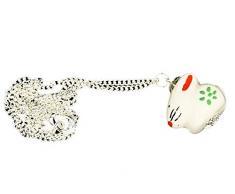 Coniglietto catena collana Miniblings 45 cm lepri Coniglio Pasqua bianco porcellana fiori