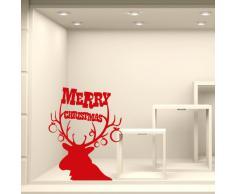 NT0320 Adesivi Murali - Auguri con occhiali - Vetrofanie natalizie - Misure 60x113 cm - bordeaux e oro - Vetrine negozi per Natale, stickers, adesivi