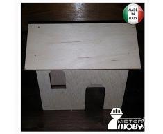 Mistermoby Casa Casetta in Legno Dimensioni 11X6XH13 per Presepe Decoupage Decorazione Addobbi 3 Pezzi