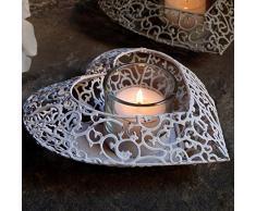 Porta Candela Metallo Shabby Chic Deko Cuore Collection Colore Bianco Angelica Home & Country