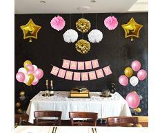 Belle Vous 33 Pezzi Accessori Decorazioni Oro, Bianco & Rosa - Pon Pon, Palloncini in Lattice e Foil e Striscioni per Compleanno & Feste - Kit per Ragazze, Ragazzi & Adulti