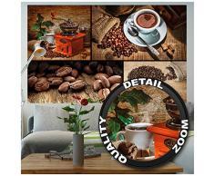 Caffè FOTOMURALE collage caffè - motivo murale caffè tappezzeria da parete - XXL quadro decorazione da parete per cucinaby GREAT ART (140 x 100 cm)