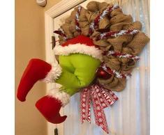 Ghirlanda Natalizia, Come Il Grinch ha Rubato la Ghirlanda di Juta Natalizia Decorazioni ghirlande Natalizie, cornice a ghirlanda con filo, per decorazioni natalizie e del ringraziamento per interni
