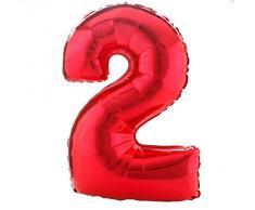 AMSCAN, Palloncino a forma di numero 2, 53 x 88 cm, colore: Rosso