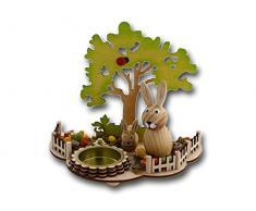 Carino – Scena con portacandele, 2 conigli pasquali, uova colorate, Albero e coccinella, realizzata in legno, 16 x 10 x 13 cm, Pasqua Primavera Tee luce la famiglia lepri Pasqua Decorazione