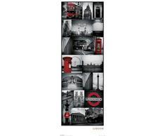 1art1 59930 - Poster per porta con collage di immagini di Londra, 158 x 53 cm, colore rosso/bianco/nero