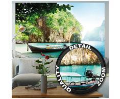 Poster Peschereccio nella baia tropicale Murale Decorazione Partire per le vacanze Spiaggia Paradiso Baia Natura Isola Mare | Fotomurales Decorazione da parete Immagine by GREAT ART (140 x 100 cm)
