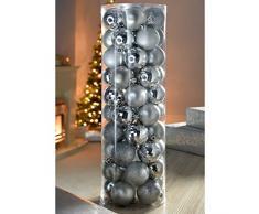 WeRChristmas - Set di decorazioni natalizie, 50 palline, in plastica infrangibile argento/ blu