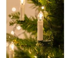 Filo di 50 luci LED a Candela Avorio con mollette per Albero di Natale di Lights4fun