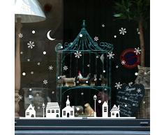 Baohooya Vetrofanie Adesive Natalizie Pupazzo Adesivi Natale Vetrine Negozi Porta Vetro Wall Sticker Rimovibile Decorazione Casa Addobbi Natalizi, 25 * 35Cm (Bianco)