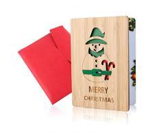 Biglietti di Natale in Legno, Biglietto Natalizio, Biglietto di Auguri di Natale in Bambù, Veri Biglietti Augurali di Buon Natale in Legno Fatti a Mano, Fantasie Natalizie Colorate, Regali Ideali