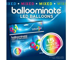 15x Balloominate Mix Color con led Luce Fissa - Palloncini Luminosi per Feste