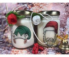 Buon Natale Personaggi natalizi 2 vasetti con candele in due misure a scelta di cera di soia e oli essenziali Buone Feste regalo di natale segnaposto natalizio decorazione casa