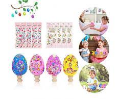 Anyingkai 4pcs Uova di Pasqua Decorative,Uova per Albero di Pasqua,Pittura di Artigianato Fai da Te di Pasqua,Decorazioni Pasquali Fai da Te,Uova di Pasqua Decorative Colorate