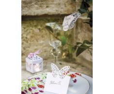 10 farfalle bianche di pizzo segna-posto Taglia Unica