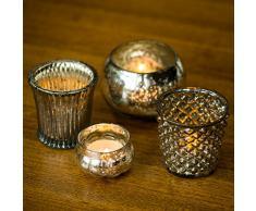 Insideretail - Portacandele tea light, 7 cm, motivo: diamanti, set di 12, colore: argento antico